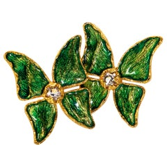 Yves Saint Laurent  Green Enamel Crystal Butterfly Earrings YSL, 1993