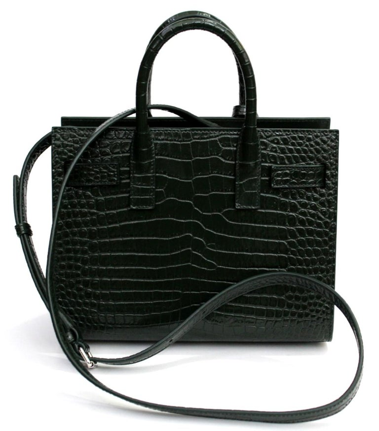 19ac9dc380c Yves Saint Laurent bag model Sac De Jour mini.Made in green leather with  crocodile