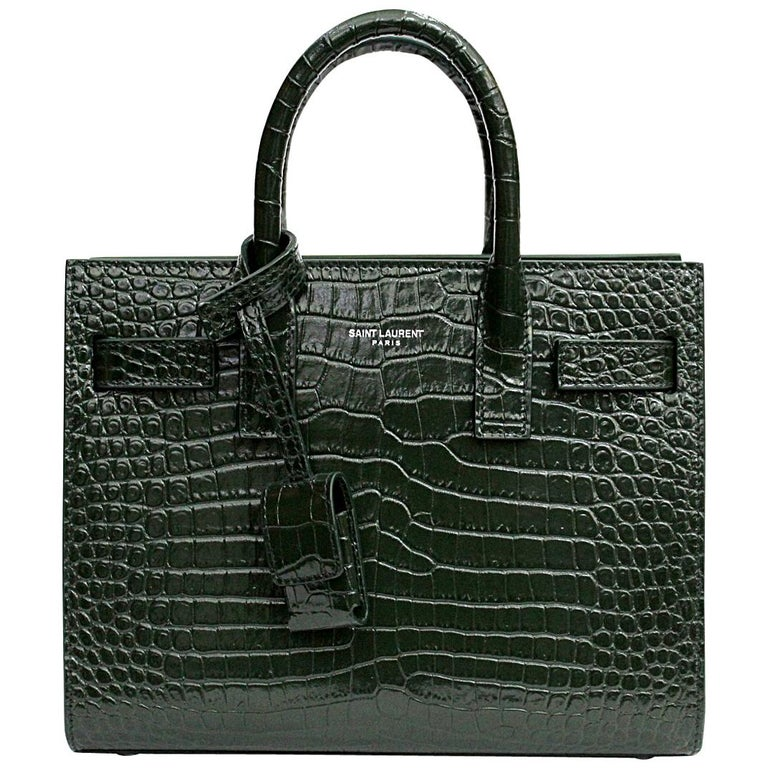 2c3f138500d3 Yves Saint Laurent Green Leather Sac De Jour Mini Bag For Sale at ...
