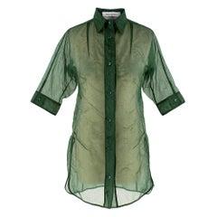 Yves Saint Laurent Green Organza Sheer Blouse XS