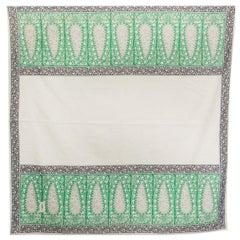 YVES SAINT LAURENT green white black cotton PAISLEY Shawl Scarf
