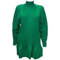 Yves Saint Laurent Green Wool Tunic / Mini Dress