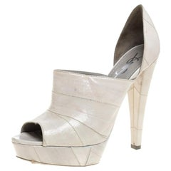 Yves Saint Laurent Grey Leather D'orsay Peep Toe Platform Sandals Size 37.5