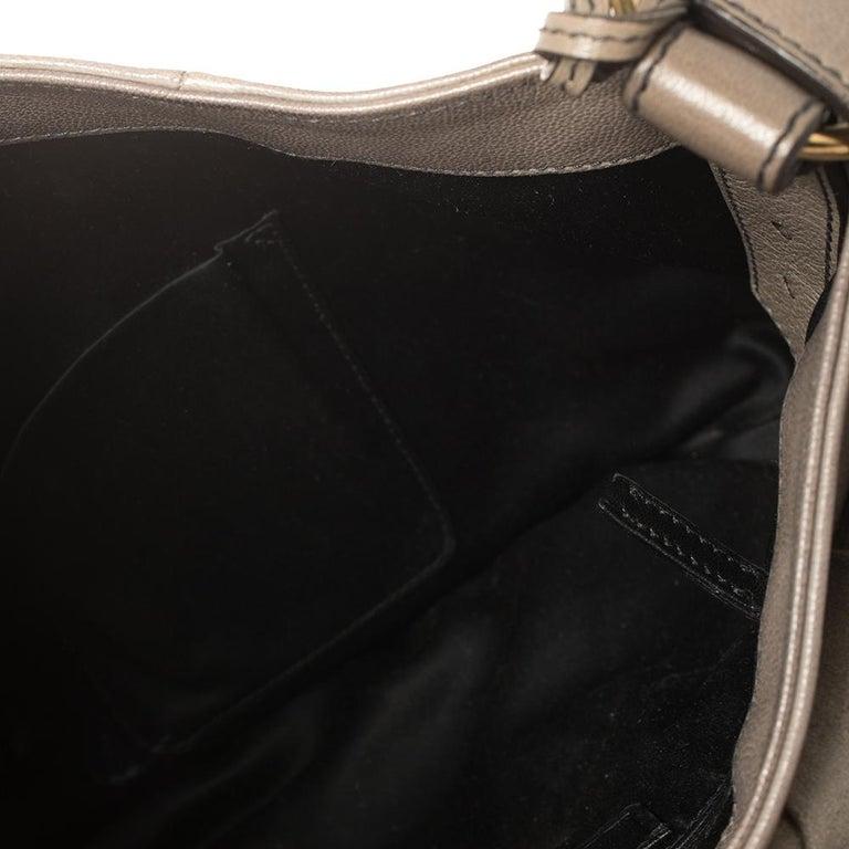 Yves Saint Laurent Grey Leather Sac Bow Hobo For Sale 6