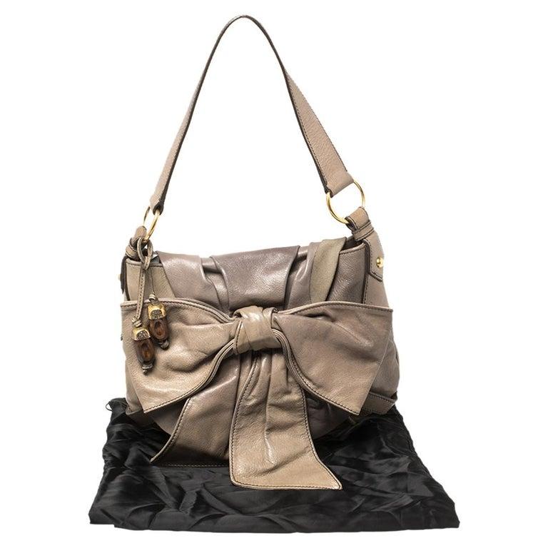Yves Saint Laurent Grey Leather Sac Bow Hobo For Sale 7