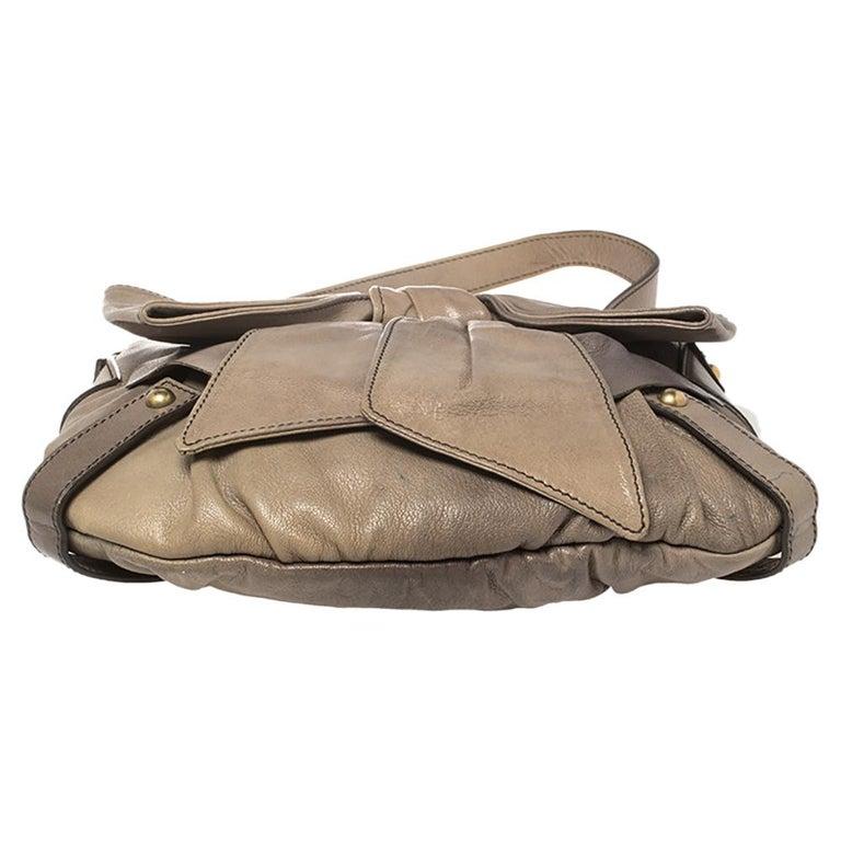 Yves Saint Laurent Grey Leather Sac Bow Hobo For Sale 8