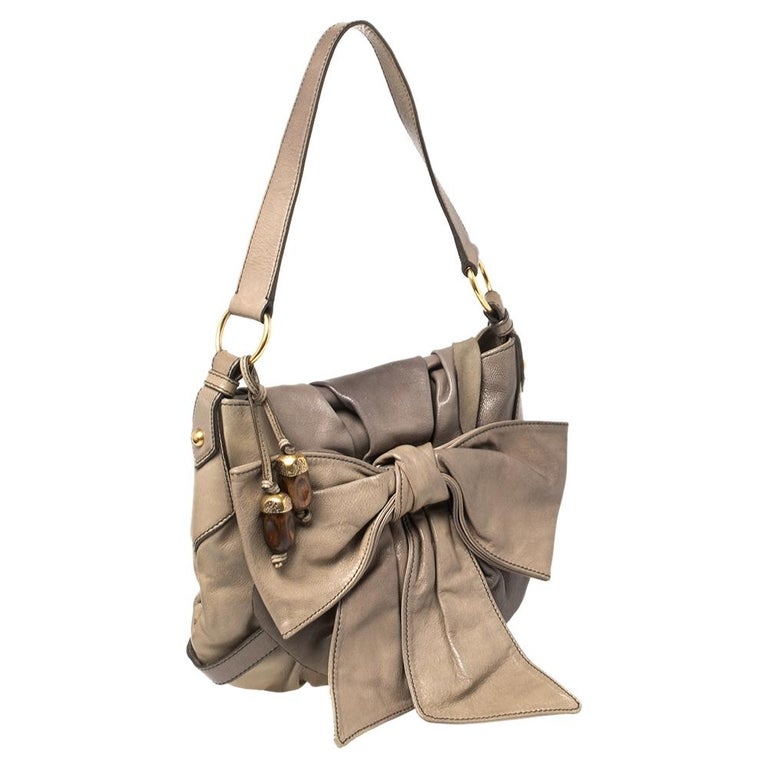 Brown Yves Saint Laurent Grey Leather Sac Bow Hobo For Sale