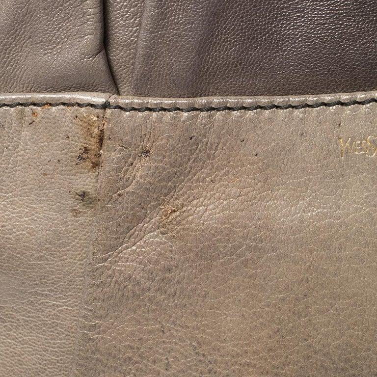 Women's Yves Saint Laurent Grey Leather Sac Bow Hobo For Sale
