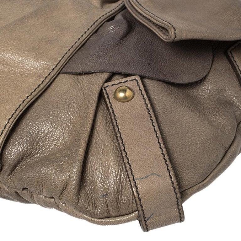Yves Saint Laurent Grey Leather Sac Bow Hobo For Sale 2