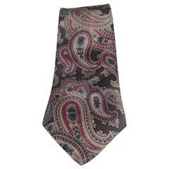 Yves Saint Laurent grey multicoloured silk tie