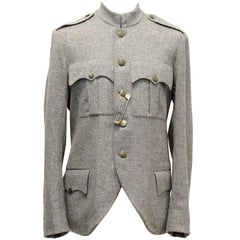 Yves Saint Laurent Grey Solid Coat IT 50
