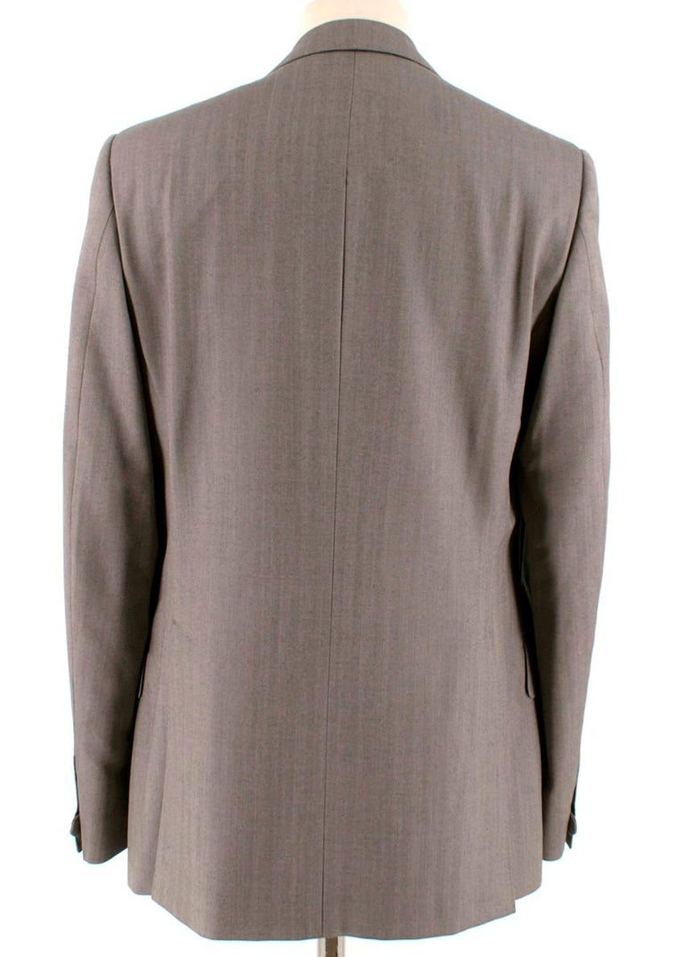 Yves Saint Laurent Grey Striped Wool Suit L 50  In Excellent Condition For Sale In London, GB