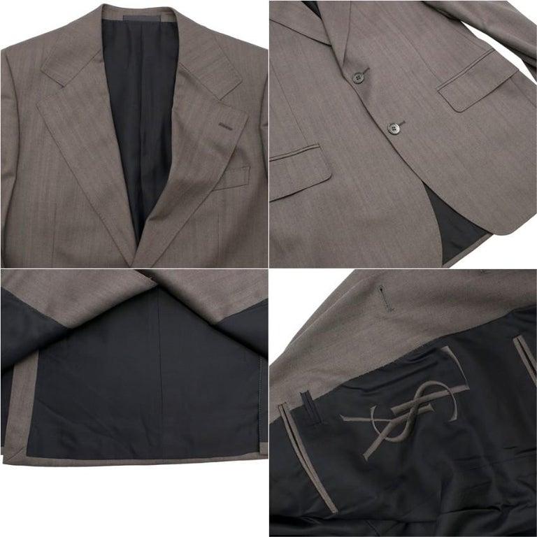 Yves Saint Laurent Grey Striped Wool Suit L 50  For Sale 2