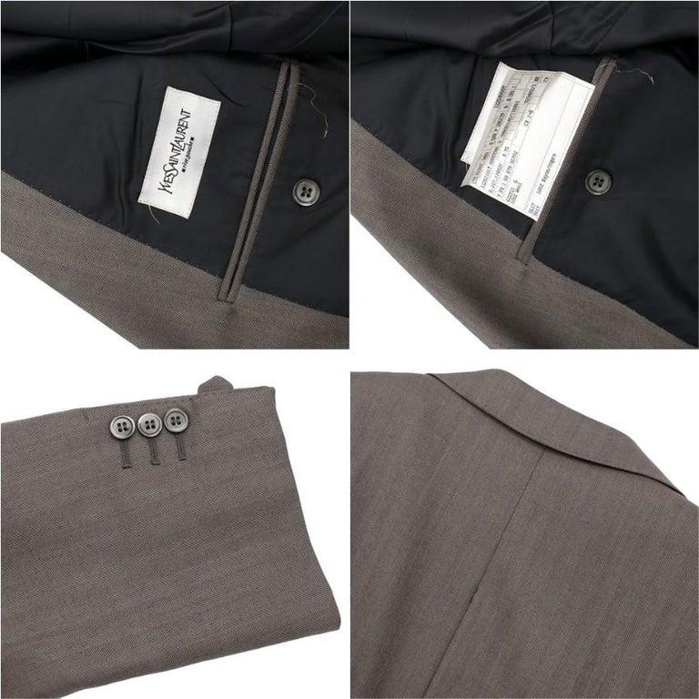 Yves Saint Laurent Grey Striped Wool Suit L 50  For Sale 3