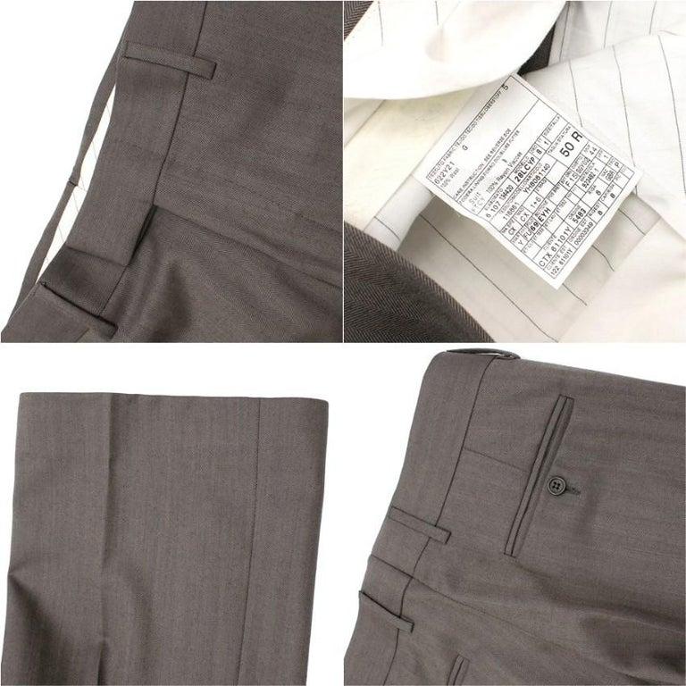 Yves Saint Laurent Grey Striped Wool Suit L 50  For Sale 4