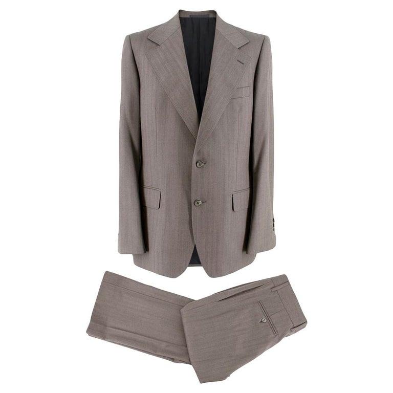 Yves Saint Laurent Grey Striped Wool Suit L 50  For Sale