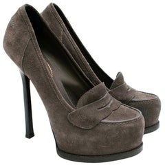 Yves Saint Laurent Grey Suede Heeled Penny Loafers 36