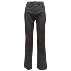 Yves Saint Laurent Grey Wool & Angora Checkered Pants