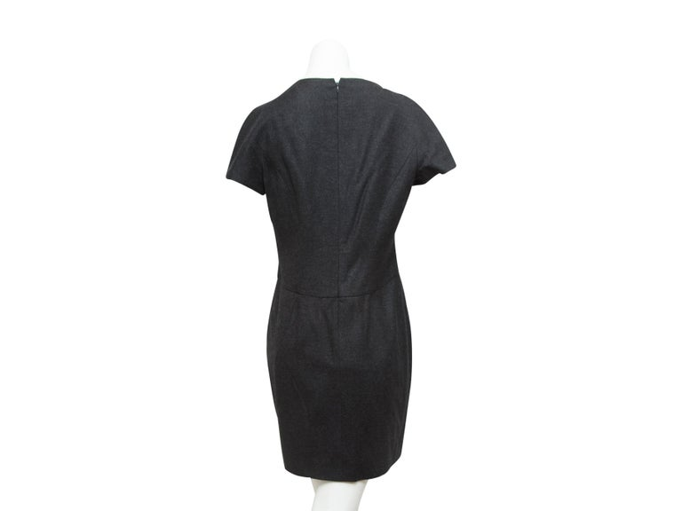 Yves Saint Laurent Grey Wool Sheath Dress In Good Condition For Sale In New York, NY