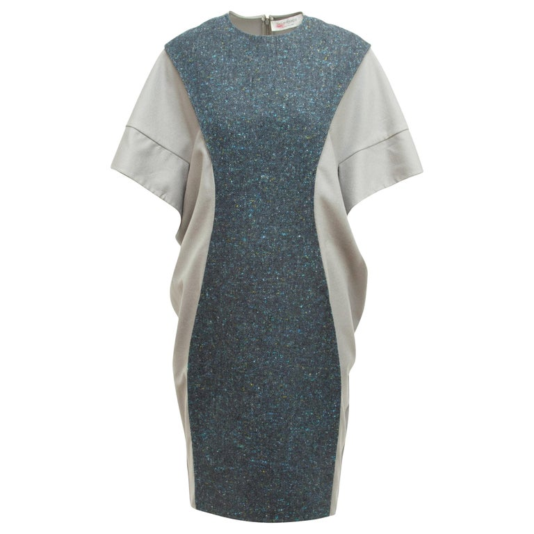 Yves Saint Laurent Grey Wool & Tweed Inset Panel Autumn/Winter 2008 Dress For Sale