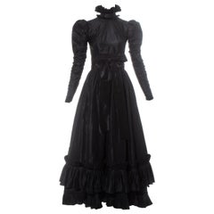 Yves Saint Laurent Haute Couture black silk taffeta evening dress, fw 1971