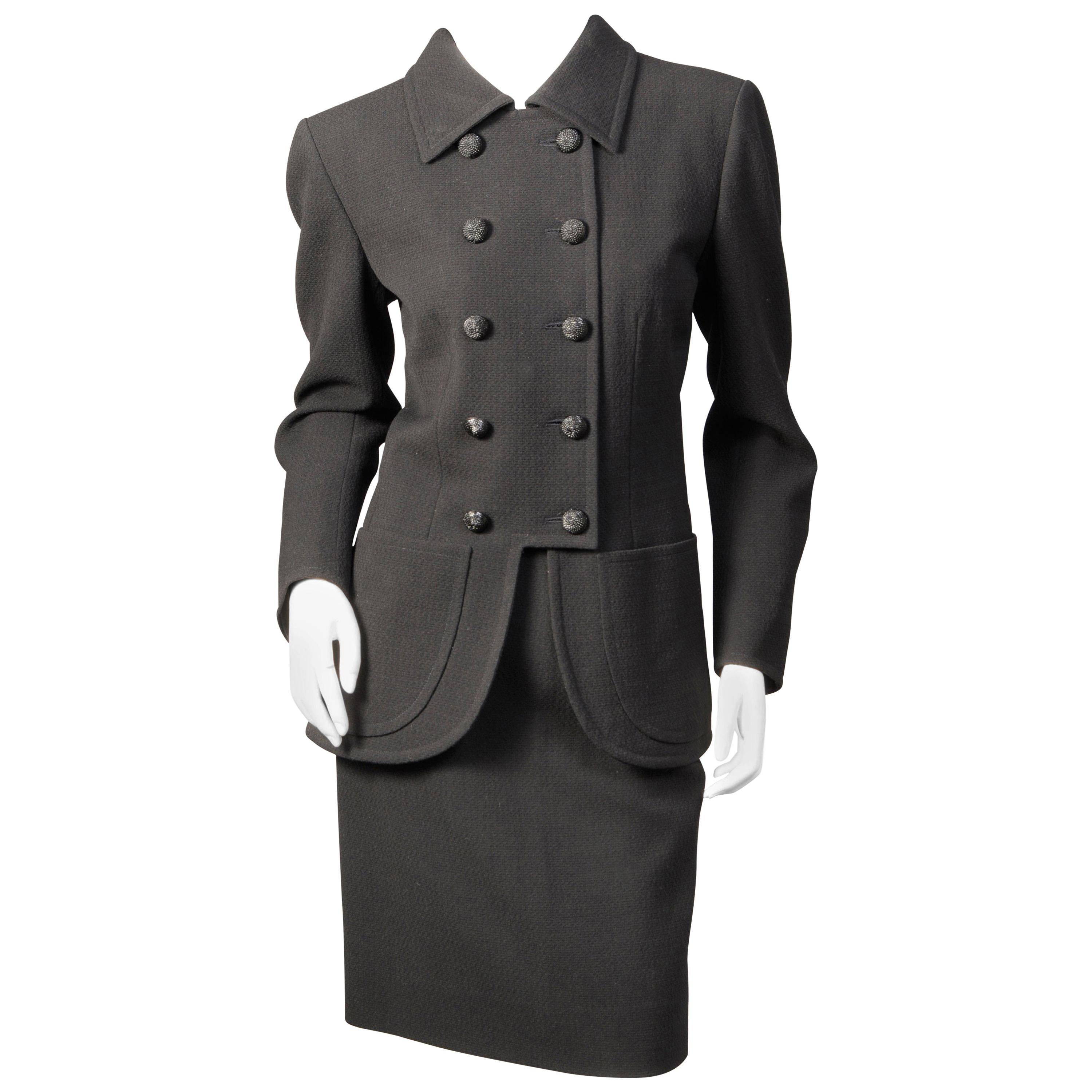Yves Saint Laurent Haute Couture Double Breasted Black Wool Suit, late 1970s