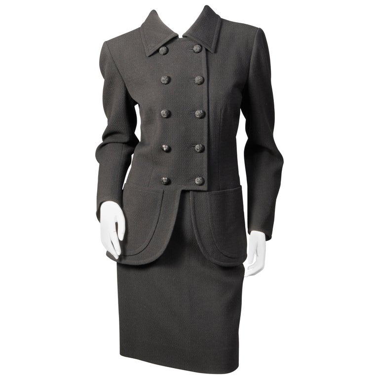 Yves Saint Laurent Haute Couture Double Breasted Black Wool Suit, late 1970s For Sale