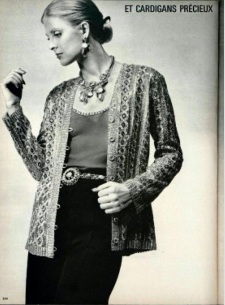 Brown Yves Saint Laurent haute couture gold jacket, Spring/Summer 1973 For Sale