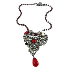 Yves Saint Laurent Haute Couture Iconic Bejeweled Heart Brooch Necklace