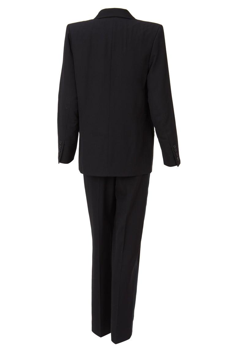Yves Saint Laurent Black Smoking Trouser Suit with Waistcoat, Haute Couture Spring/Summer 1991, in grain of powder and black silk reps. Look 31 - Model Khadija Size 36/38 EU