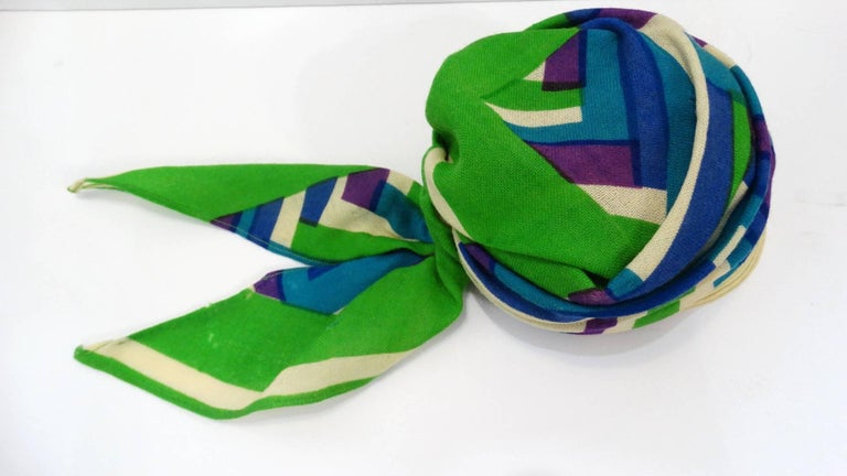 Blue Yves Saint Laurent Headscarf Hat, 1960s  For Sale
