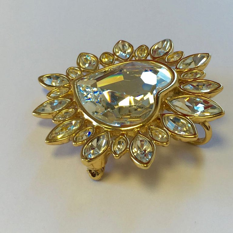 YVES SAINT LAURENT Heart Brooch In Good Condition For Sale In Paris, FR