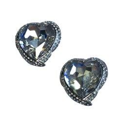 YVES SAINT LAURENT Heart Clip-on Earrings in Silver Metal, Rhinestones.