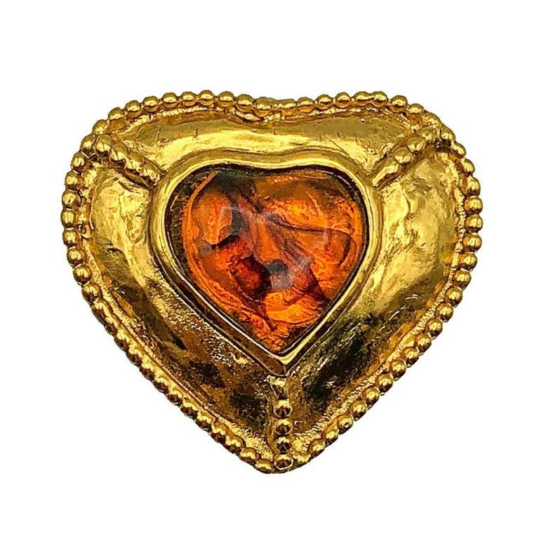 Yves Saint Laurent Chunky Heart Pendant 1980s For Sale