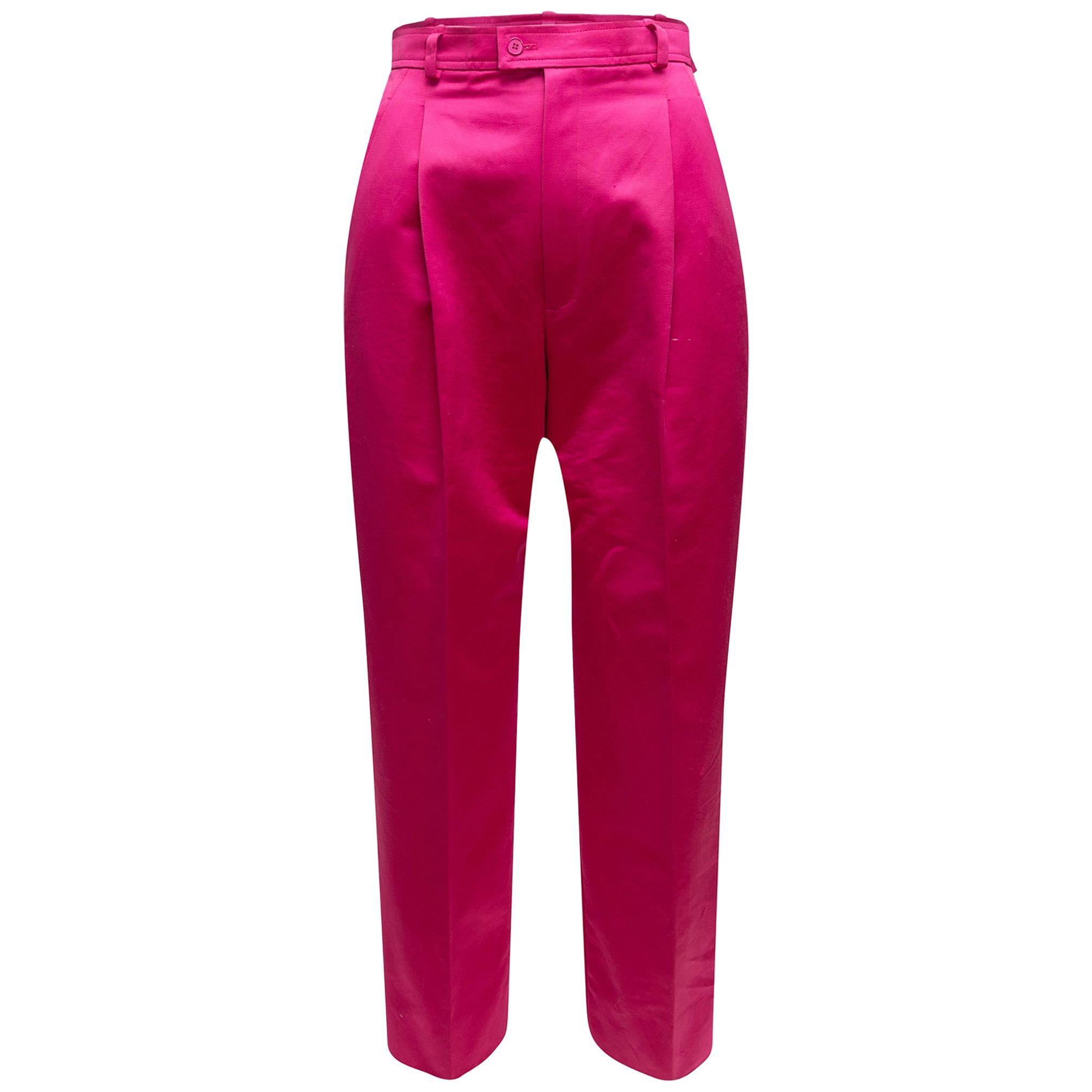 Yves Saint Laurent Hot Pink Satin Trousers