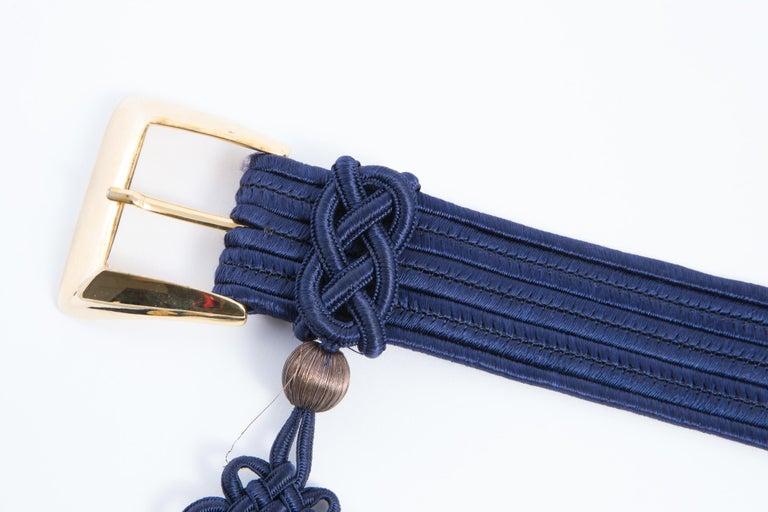 Yves Saint Laurent Iconic Blue Braided Belt For Sale 6