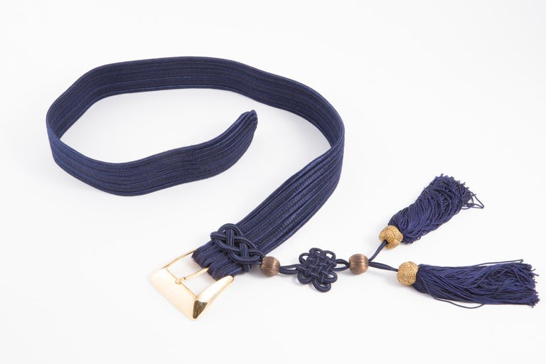 Yves Saint Laurent Iconic Blue Braided Belt In Excellent Condition For Sale In Paris, FR
