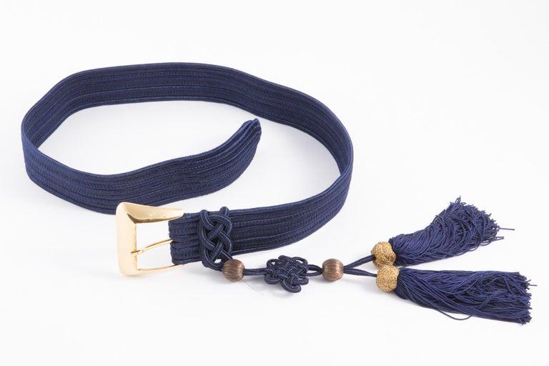Women's Yves Saint Laurent Iconic Blue Braided Belt For Sale