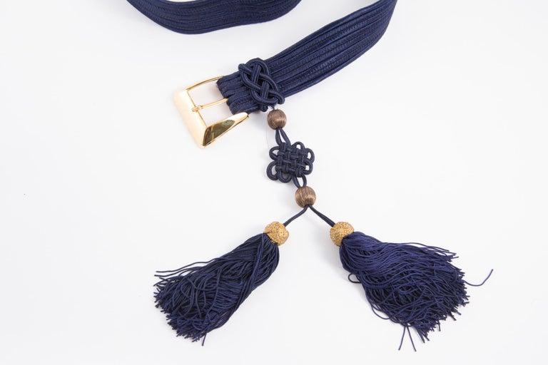 Yves Saint Laurent Iconic Blue Braided Belt For Sale 1