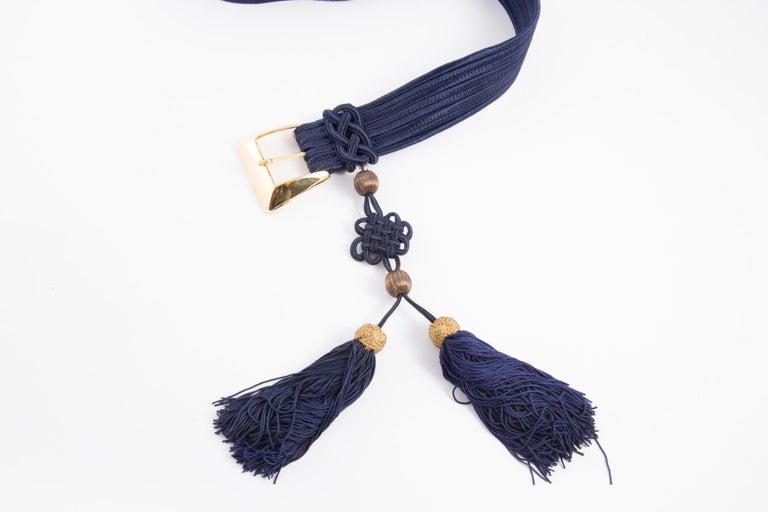 Yves Saint Laurent Iconic Blue Braided Belt For Sale 2