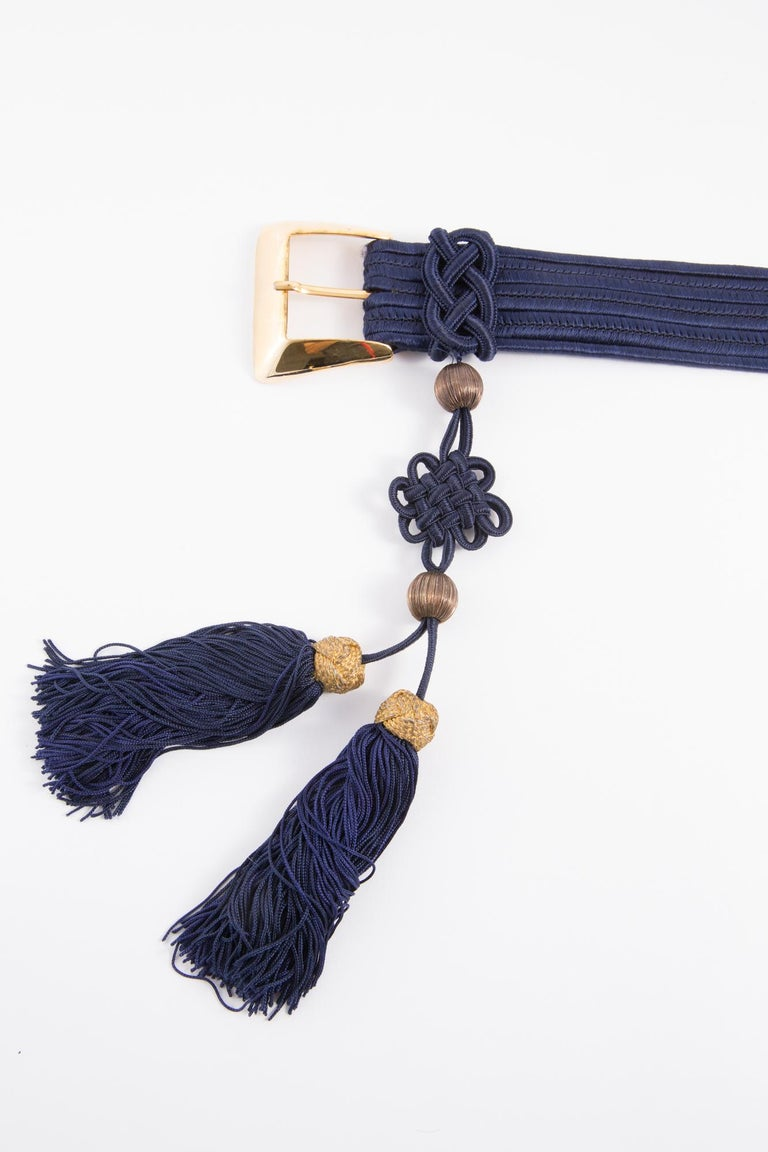 Yves Saint Laurent Iconic Blue Braided Belt For Sale 3