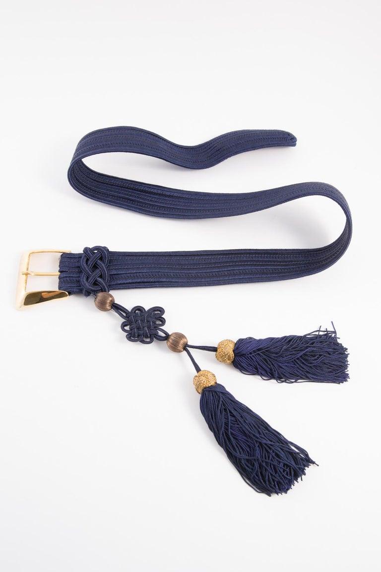 Yves Saint Laurent Iconic Blue Braided Belt For Sale 4