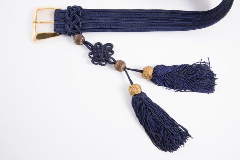 Yves Saint Laurent Iconic Blue Braided Belt For Sale 5