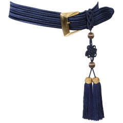 Yves Saint Laurent Iconic Blue Braided Belt
