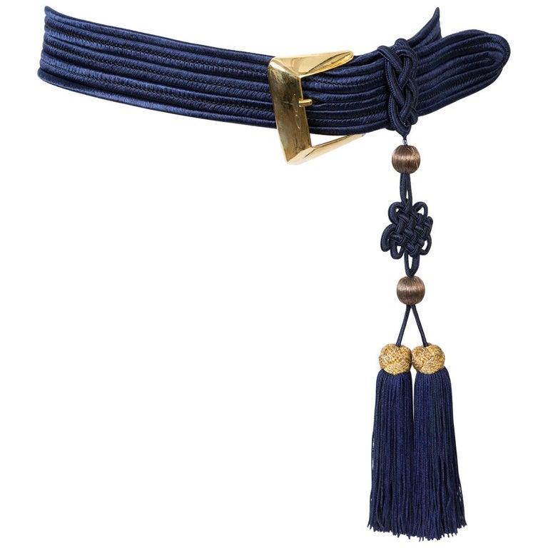 Yves Saint Laurent Iconic Blue Braided Belt For Sale