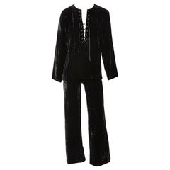Yves Saint Laurent Iconic Crushed Velvet Tunic and Pant Ensemble