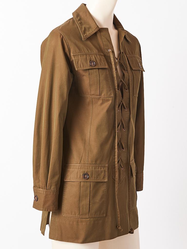 Yves Saint Laurent, Rive Gauche, iconic, olive green, cotton twill, safari ( saharienne) tunic C. 1968. Designer: