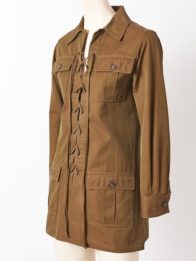 Brown Yves Saint Laurent Iconic Saharienne C. 1968 For Sale