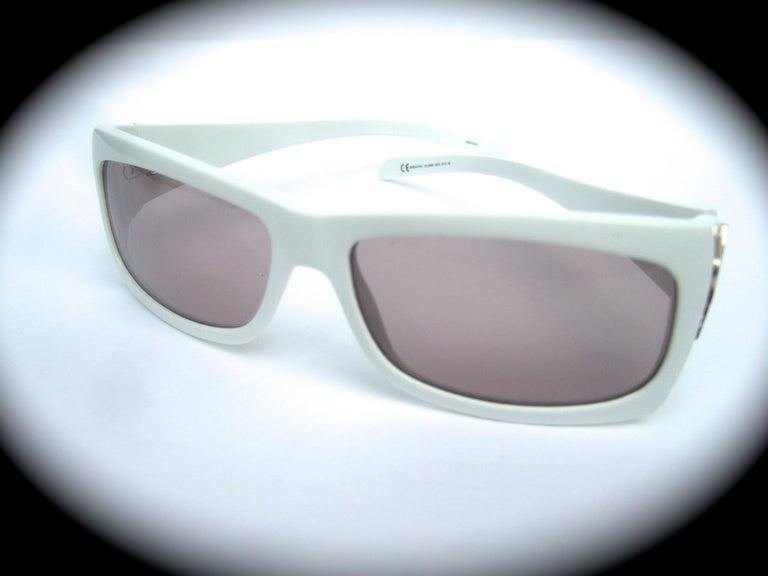 Yves Saint Laurent Italian White Plastic Frame Sunglasses in YSL Case c 1990s For Sale 5