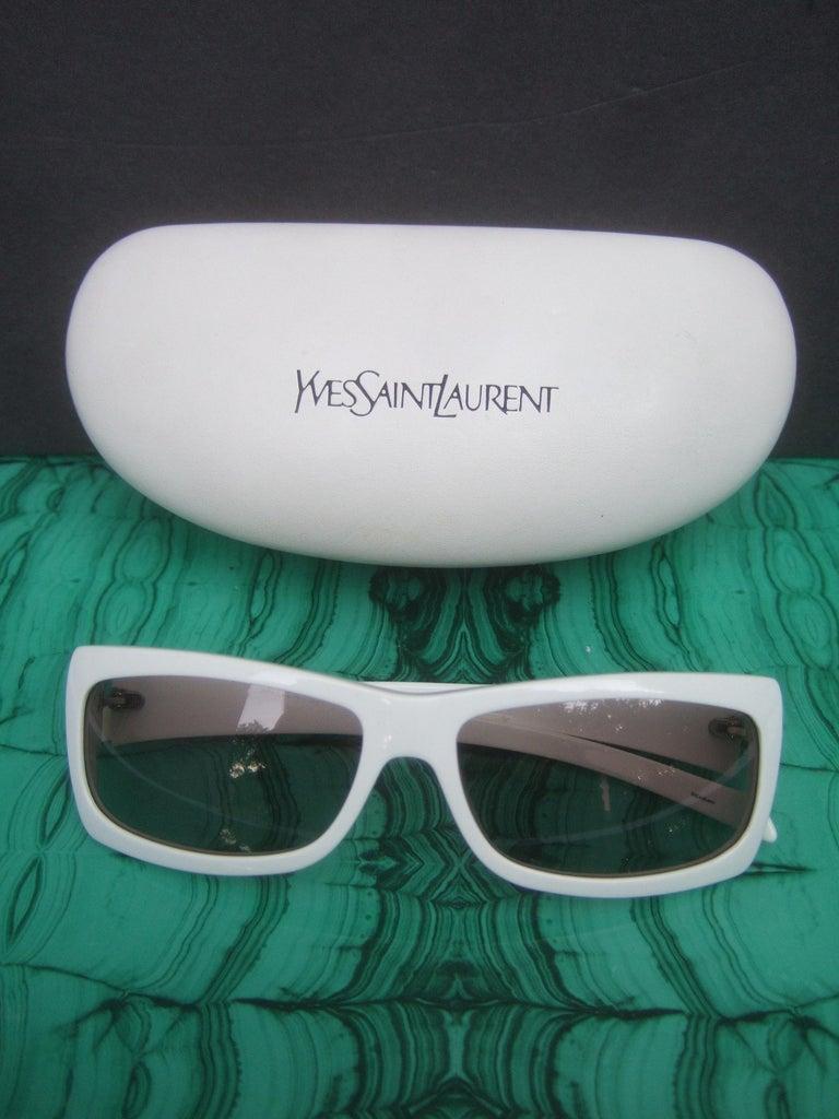Yves Saint Laurent Italian White Plastic Frame Sunglasses in YSL Case c 1990s For Sale 6